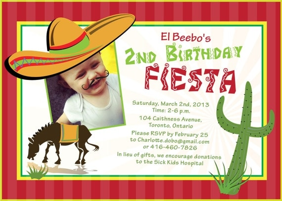 Printable Birthday Invitation- Mexican Fiesta Birthday Invitation - Printable - Customizable