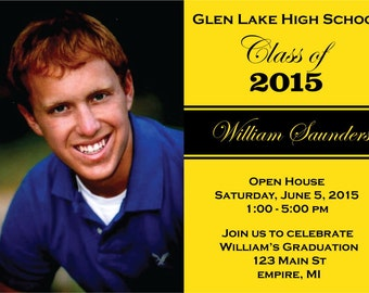 Photo Graduation Party Invitations - High School or College Picture Grad Announcement