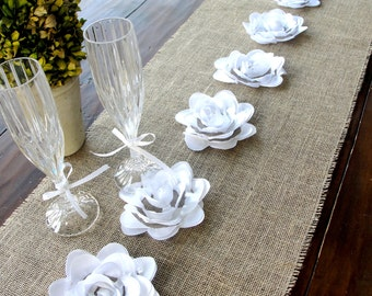 Burlap Table Runner  with white flowers ,Vintage  Wedding table runner Rustic Wedding table decor , Handmade in the USA