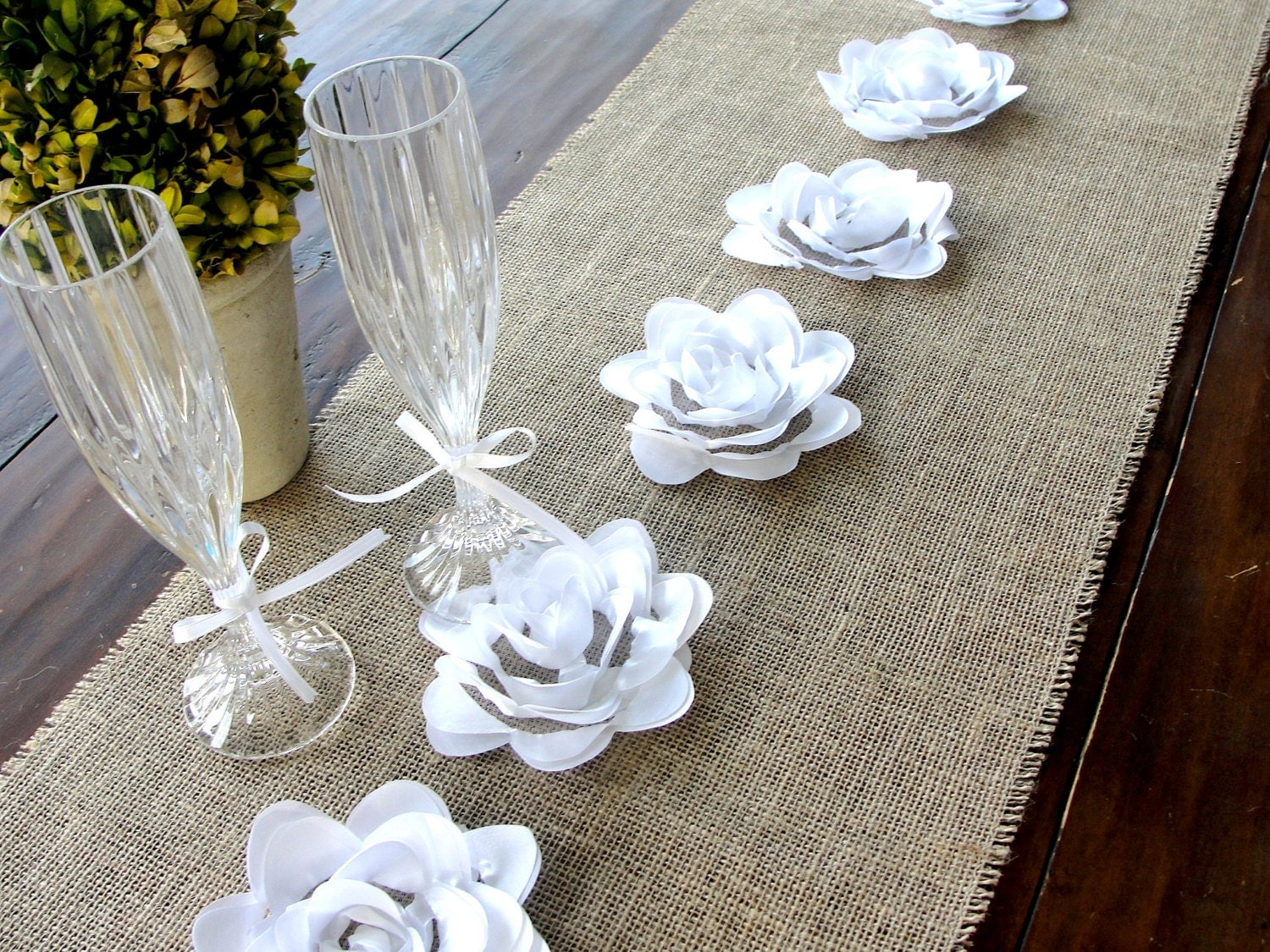 burlap table runner with white flowers vintage wedding. Black Bedroom Furniture Sets. Home Design Ideas