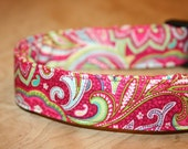 Bright Pink Paisley Adjustable BUCKLE Dog Collar green yellow blue