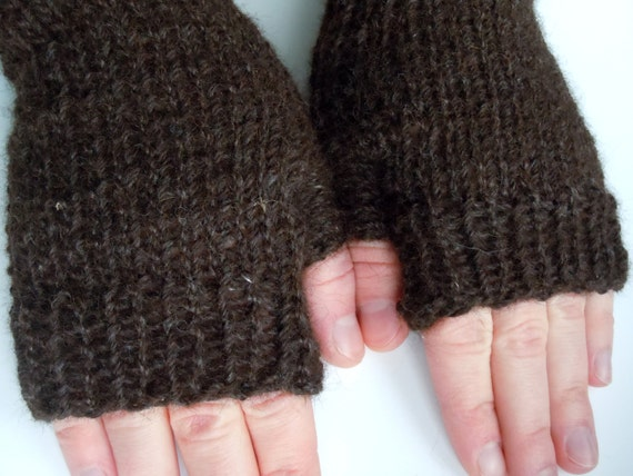 All Natural Alpaca Wool Fingerless Gloves - Dark Chocolate Brown - Ecofriendly
