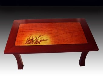 English Sycamore & Mahogany Sunburst Coffee Table - Morning In The Marsh