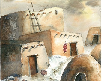 Native American Southwest High Desert Painting, Pueblo Life, Print of Original  Watercolor Painting 6.5x8.25 Decor