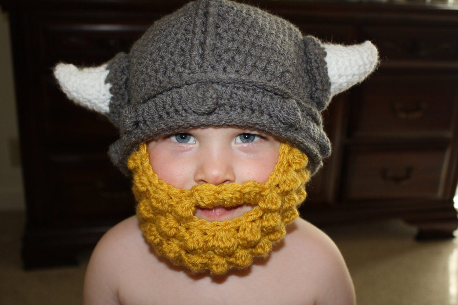 Crochet Viking Hat With Beard : Crochet Viking Hat with Horns for boy or by AJourneyofMemories