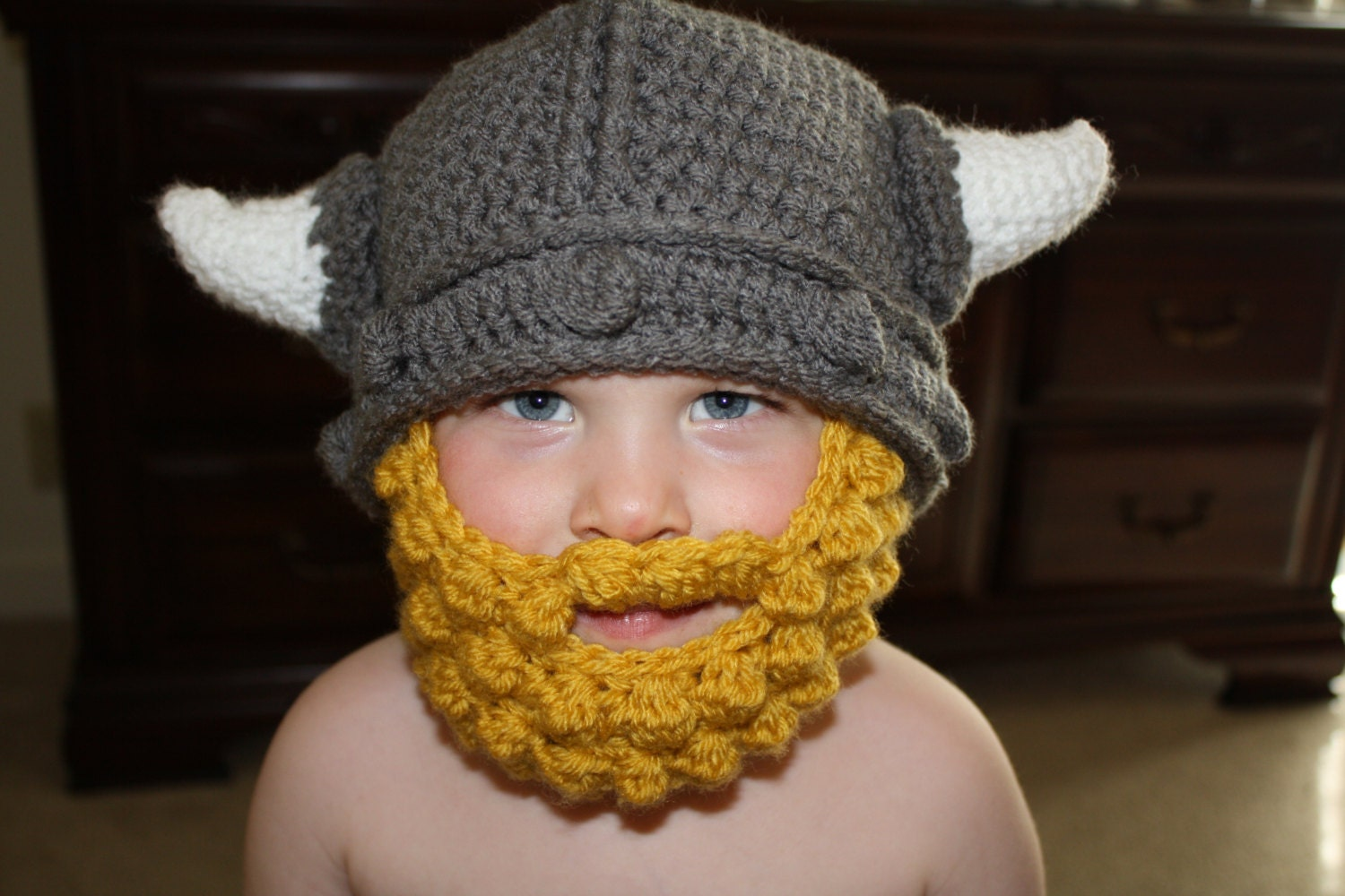 Crochet Pattern Viking Hat : Crochet Viking Hat with Horns for boy or by AJourneyofMemories