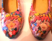 Jem and the Holograms shoes. 80's retro geeky girlfriend fashion nerdy wife valentine present comic con