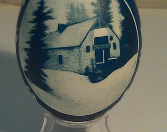 Snowy Day - Etched Goose Egg w/ depictions of a still snowy day