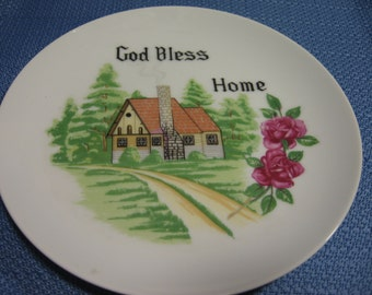 God Bless Home Decorative Plate, wall plate, kitchen kitsch, photo prop