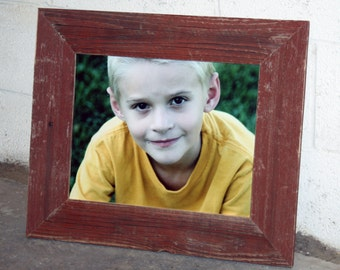 """11"""" x 14"""" Thin x 3"""" RED Barn Wood Picture Frame"""