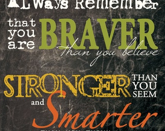 MA - Always Remember that you are braver than you think, stronger, smarter... / Textured, finished wall decor ready to hang by Marla Rae