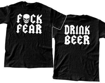 DRINK BEER - T-shirt Stone Cold Fear Championship Wrestling funny