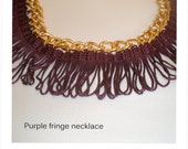 Purple fringe necklace, statement necklace, gold plated chain