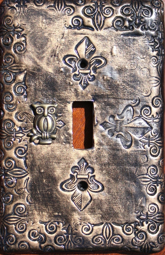 Steampunk Inspired Fleur Owl Clay Light Switch Plate Cover
