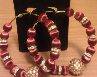 Basketball wives inspired hoop with Cognac and gold beads