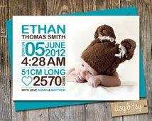Birth Announcement for a new baby boy, modern, blue and brown, personalized with your birth stats. Colours can be chosen to match the photo