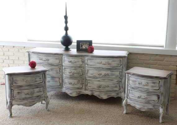 French provincial white bedroom set by herd2herd on etsy for French provincial bedroom furniture