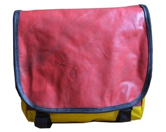 Recycled Red & Yellow Truck Tarp Messenger Bag