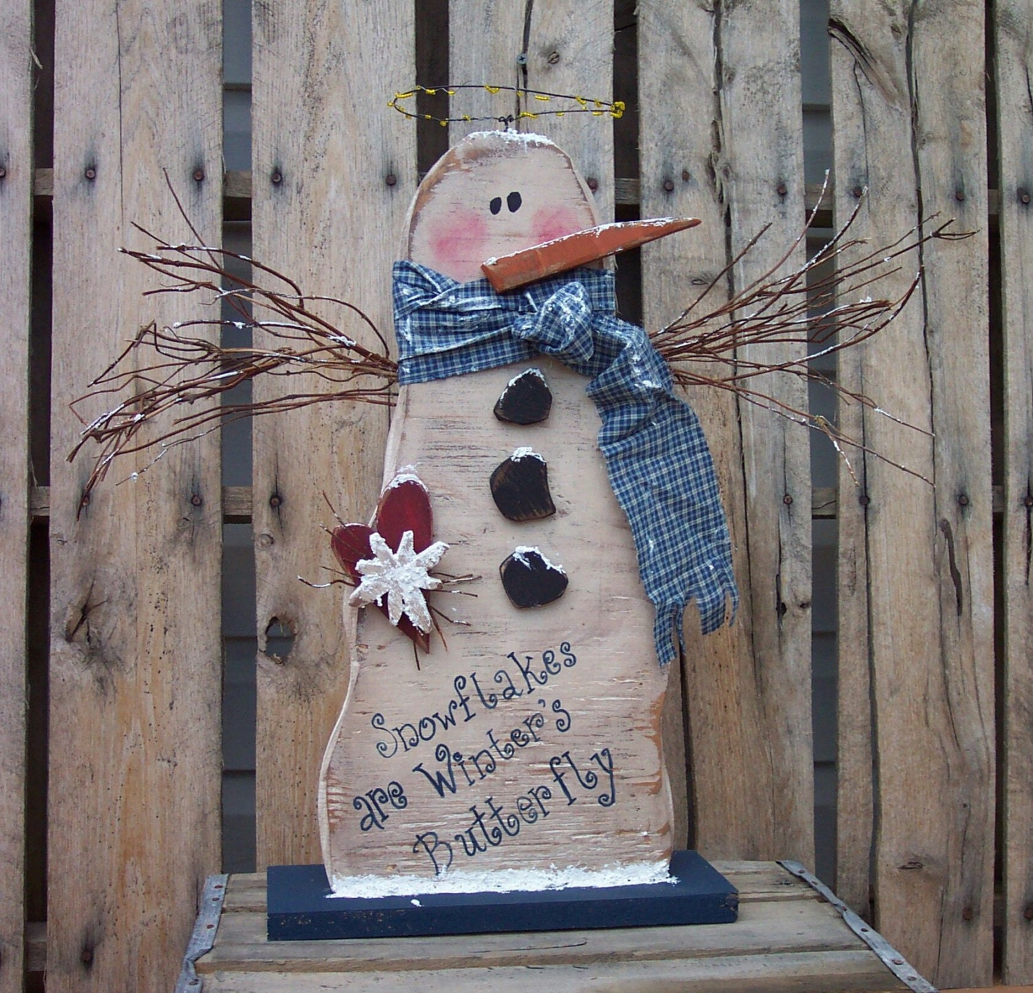 snowman angel wood craft pattern for winter by
