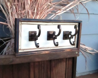 Hooks Rustic Cottage Chic Distressed Blue and White