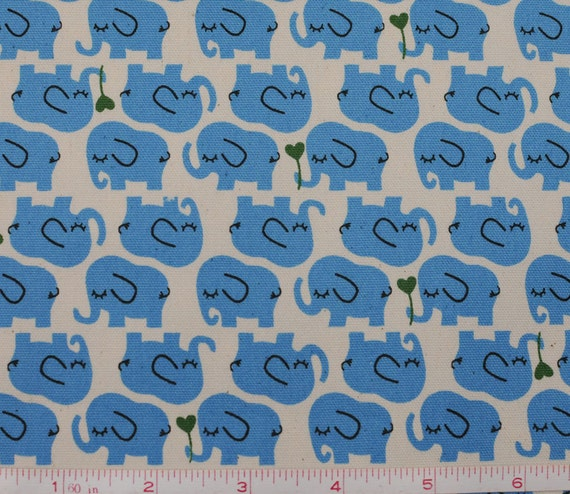 Items similar to elephant fabric blue kawaii japanese for Childrens elephant fabric