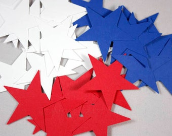 Red White and Blue Star Cut Outs, Fourth of July Decorations, Independence Day, Patriotic Stars, July 4th Party Supplies (50 Count)