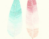 Pink and Mint Ombre Feathers Watercolour Original- Free UK Delivery- Home Decor - FeatherAndSixpence