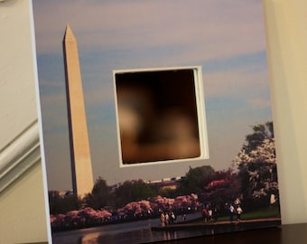 Decorative wall mirror. Washington DC. Washington Monument with cherry blossoms photo square mirror, 10 inches by 10 inches.