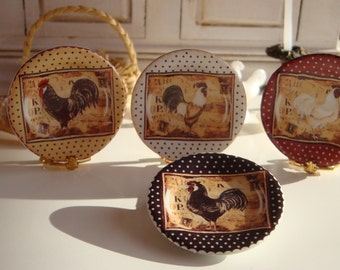Country  Farm  Rooster Dollhouse Plate