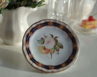 Coalport Roses Plate for Dollhouse