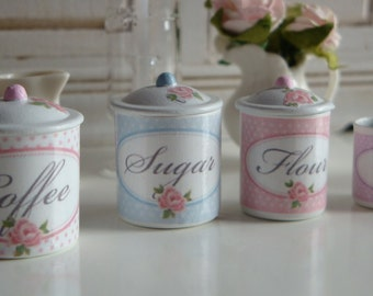 Dollhouse Miniature Kitchen Shabby Chic Rose Canisters in 1:12 Scale
