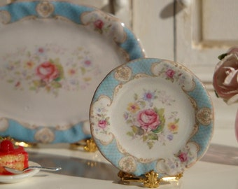 Dollhouse miniature Staffordshire Rose Blue Plate.
