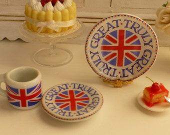 Union Jack Coffee Mug and Plate for Dollhouse