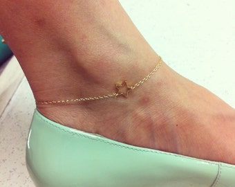 Open star anklet, 14k gold filled, delicate and cute.