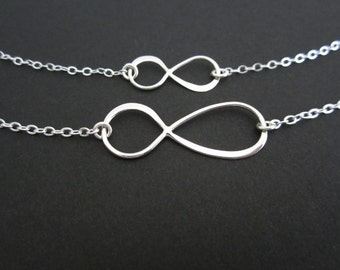 Sterling Silver Infinity Necklace Set. Mother Daughter Necklaces. Sterling Silver. Two Matching Necklaces.Figure 8 Charm. Infinity Love