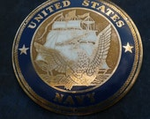 U.S. Naval Plaque - Vintage - Metal - Katesmightyfine