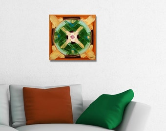 ORIGINAL mandala painting, spiritual art, meditation art, mandala art, green orange
