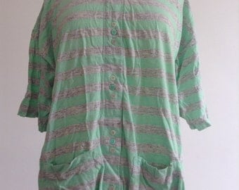 Green and Grey Stripey Vintage Top