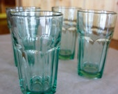 set 4 aqua or turquoise color Libbey duratuff tumblers aquamarine drinking glass