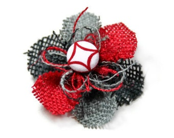 Red Gray Black Flower Hair Clip - Red and White Center