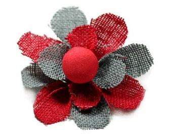 Red and Gray Flower Brooch Pin, Flower Hair Clip - Solid Red Center