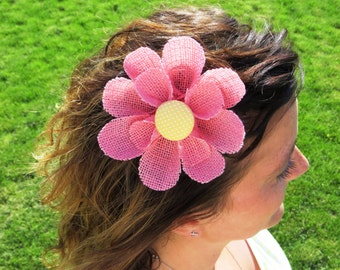 Burlap Hair Accessory, Pink Flower Hair Clip with a Yellow Polka Dot Center