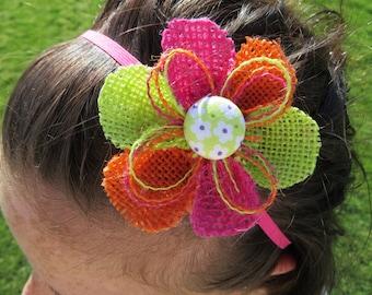 Girl's Flower Headband - Lime Green, Orange, Hot Pink Headband Flower