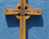 Wooden Celtic Cross with Handcarved Designs.