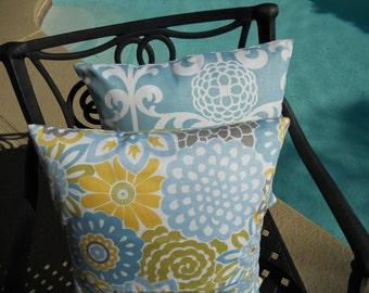 Blue Pillow Covers, Decorative Pillow Cover Floral Pillow Cover Throw Pillow Zipper closure