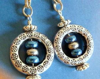 In The Loop Earrings Sapphire Blue Silver Metallic Beads Silver Metal Bead Dangles