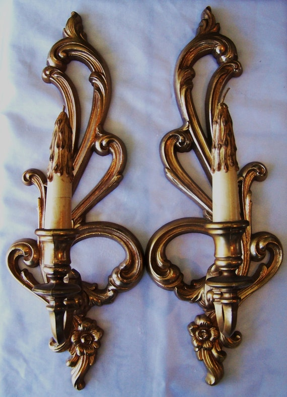 16 Syroco Candle Wall Sconce with Original Faux by RaszysFinest