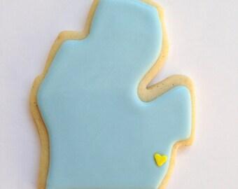Michigan Mitten sugar cookies