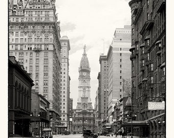 Broad Street & City Hall Tower, Philadelphia Pa.