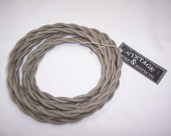 Gray Cotton Cloth Covered Wire - 7-ft  - Antique Style Lamp Cord - Industrial Light  - Fan Wire - Edison Light - Table Light